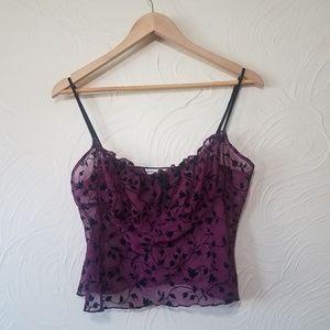 Victoria Secret sheer purple cropped top size M